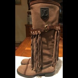 Authentic Louis Vuitton Logo Suede Fringe Boots 36